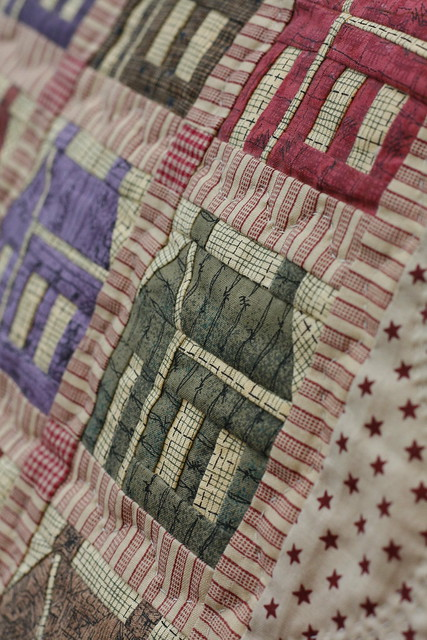 Schoolhouse Mini Patchwork quilt close-up