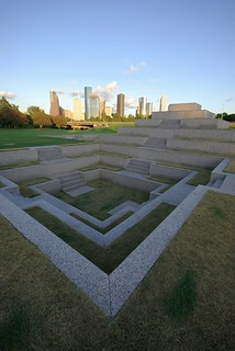 Image of Houston Police Officers' Memorial. fountain skyline buffalo memorial downtown texas pyramid houston police bayou officer sigma1020