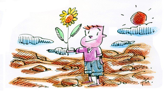 kid with big flower and sun