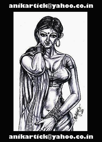 BEAUTIFUL Indian Girl in my art-04 (PENCIL SKETCH)-Chennai Animation Artist ANIKARTICK