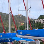 Row upon row of furled genoas at the Sunsail Marina, Road Town, Tortola