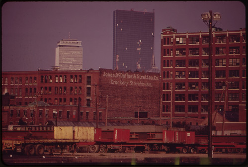 Looking Toward Copley Square from Pier 4, South Boston, in the Early Morning. John Hancock Building, with Boarded Windows, in Rear 05/1973