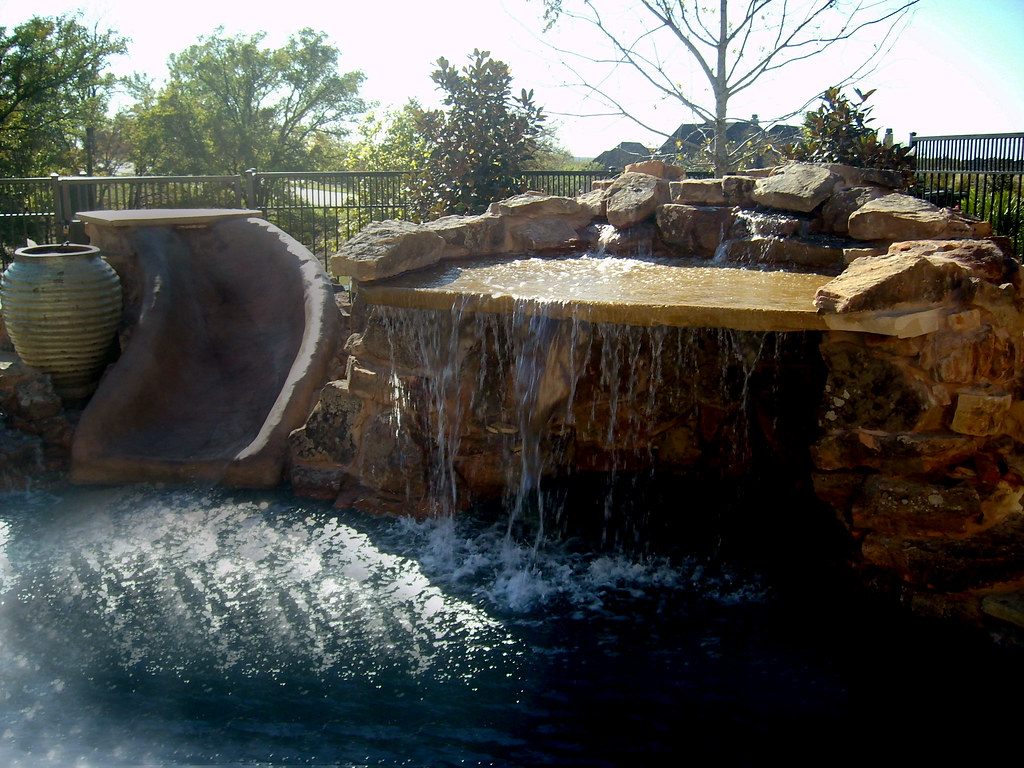 Decorative Stone Water Slides For Pools Southlake With A D