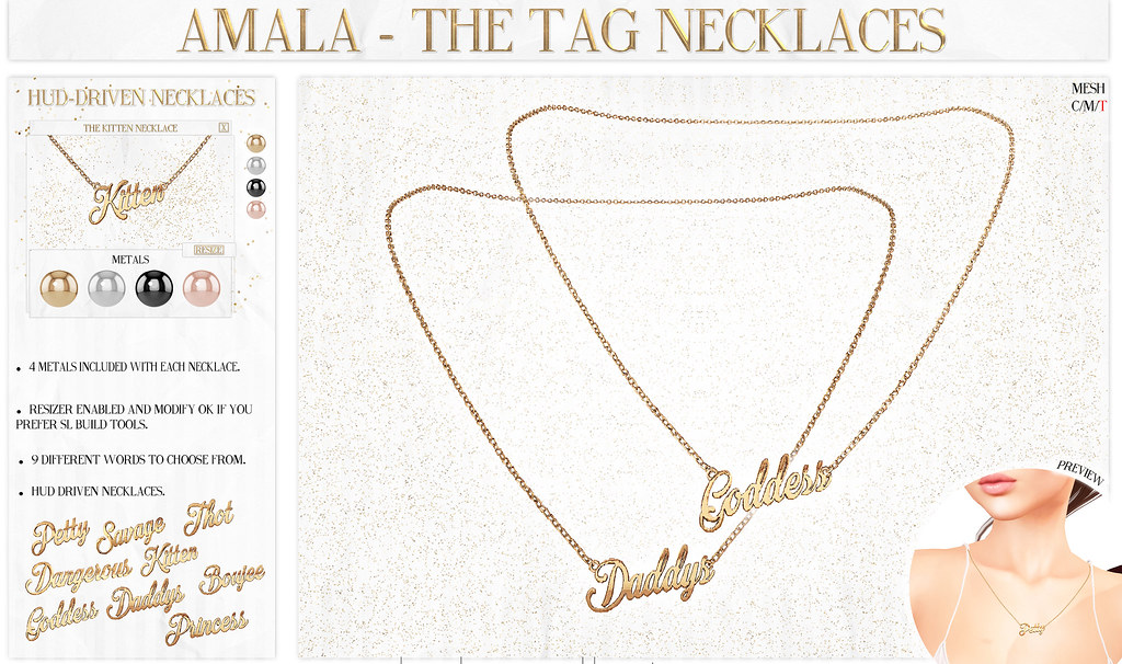 Amala - The Tag Necklaces - Kustom9 - SecondLifeHub.com