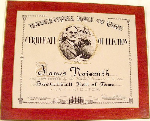 Naismith Memorial Hall of Fame Plaque (Certificate of Election)