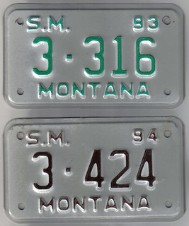 MONTANA 1993 and 1994 ---SPECIAL MOBILE plates