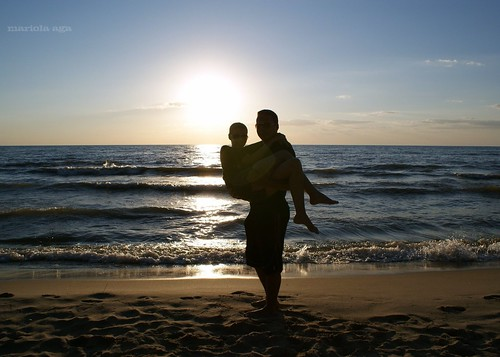 blue sunset sun lake love beach water backlight sand couple michigan lakemichigan thegalaxy