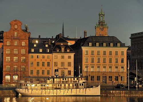 Skargardsboat at Skeppsbron in early bird light