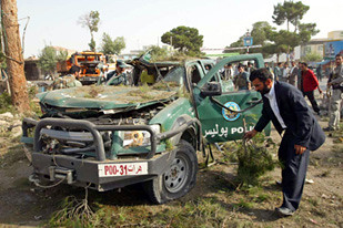 This vehicle damaged in an Afghanistan resistance attack on the US-backed police force in the occupied central Asian nation. The US has deployed thousands of troops to this country where they have waged war for eight years. by Pan-African News Wire File Photos