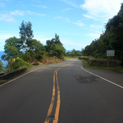 An empty stretch of road somewhere passed Hana in East Maui.