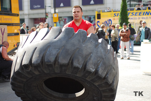 flipping large tire