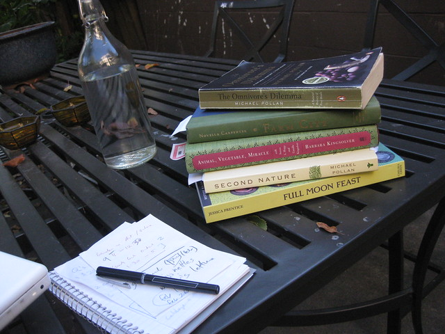 readings for garden project class (spring 2010): jessica prentice's full moon feast; michael pollan's second nature; barbara kingsolver's animal, vegetable, miracle; novella carpenter's farm city; and michael pollan's the omnivore's dilemma