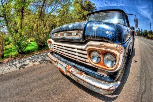blue ford truck rust antique sony pickup fisheye hdr orangeempirerailwaymuseum a900 sal16f28