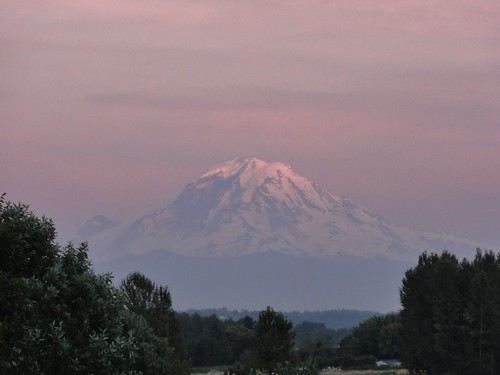 Mount Rainier, seen from near Federal Way, south of Seattle, Washington.