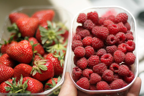 strawberries & raspberries