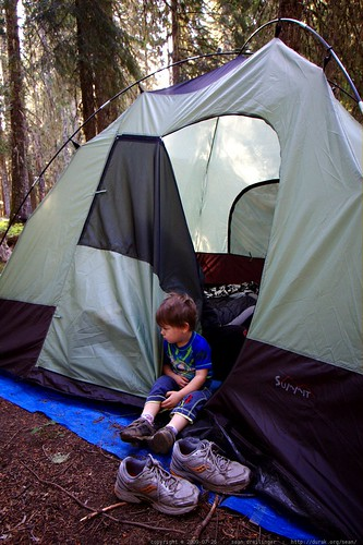 waking up on his first camping trip    MG 9842