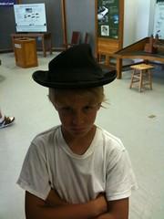 Seth wearing a canal sharp hat