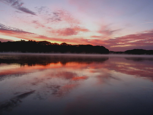 sky mist reflection water clouds sunrise river maine brunswick androscoggin topsham
