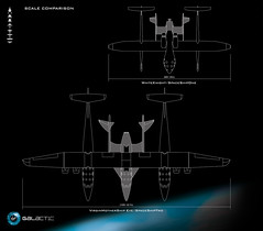 Aerial View comparison diagram of WhiteKnightOne and SpaceShipOne against WhikeKnightTwo and SpaceShipTwo.