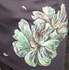 Rochie pictata. Flori verzi. Detaliu