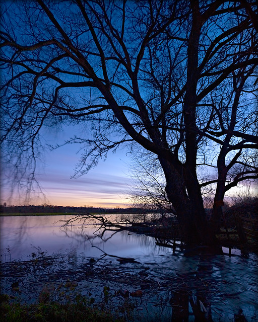 Winter Sunset, Willington in flood