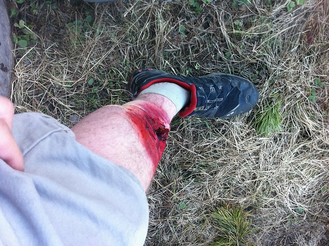 Just got moulaged (stage blood) in prep to play victim in tonight's all night long wilderness search and rescue scenario...
