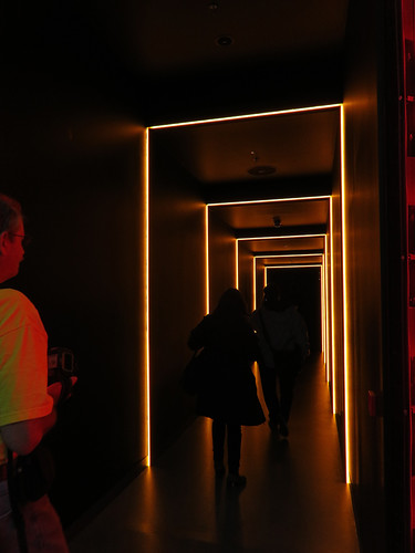 The dimly-lit hallway that leads to the 'White Room' at the Guinness Storehouse in Dublin.