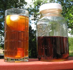 Sun tea brewed in Mason jar