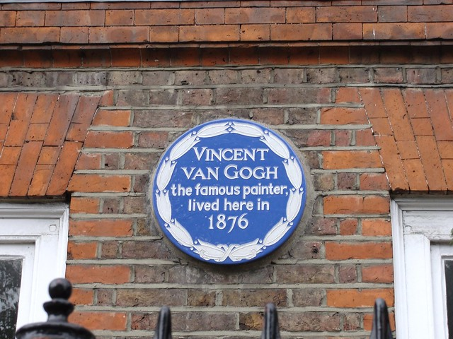 Vincent Van Gogh blue plaque - Vincent Van Gogh  the famous painter  lived here in  1876
