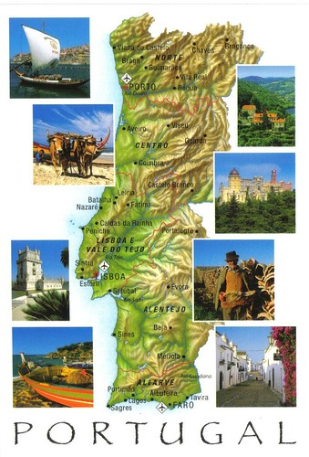 Portugal map postcard