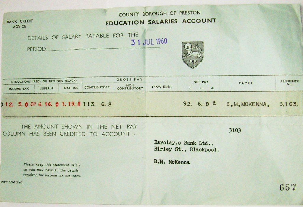 1960s teachers salary slip from Preston
