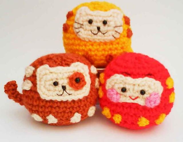 Japanese Cute Amigurumi Crochet Pattern : Daruma Japanese wish dolls Kitty Doggy Amigurumi Crochet ...