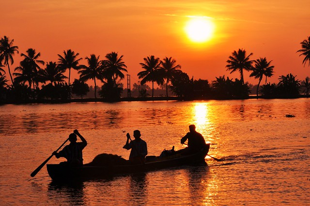 sunset in the backwaters  Kerala South India