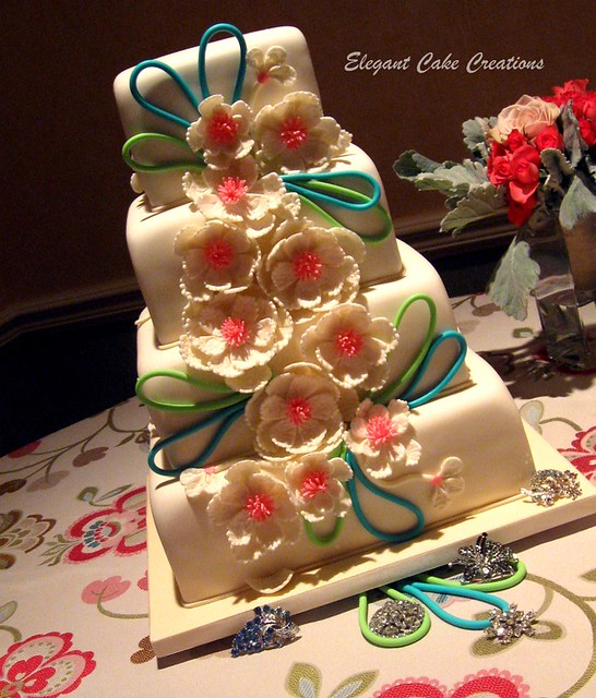 Modern Floral Wedding Cake Lace textured flowers with fondant loops