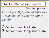 Toodledoでは毎週第一水曜日と定義
