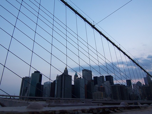 skyline from brooklyn bridge