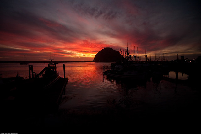 Sunset (wide 16mm) [best of 3] (unusually brilliant) over Morro Rock in Morro Bay, CA 17 Oct. 2009