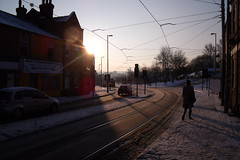 Infirmary Road tram-tracks in the snow