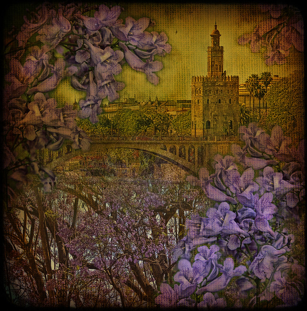 Torre del Oro through jacaranda...