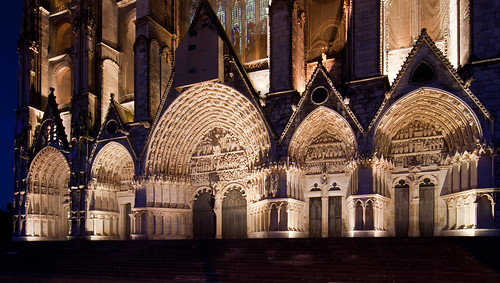 Bourges Cathedral - West Portals Night Lighting