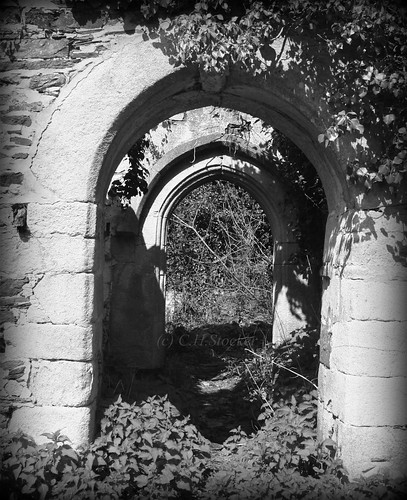 Entrance to the abandoned Church at Merther, Cornwall by Stocker Images