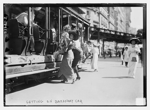 Getting on Broadway car  (LOC)