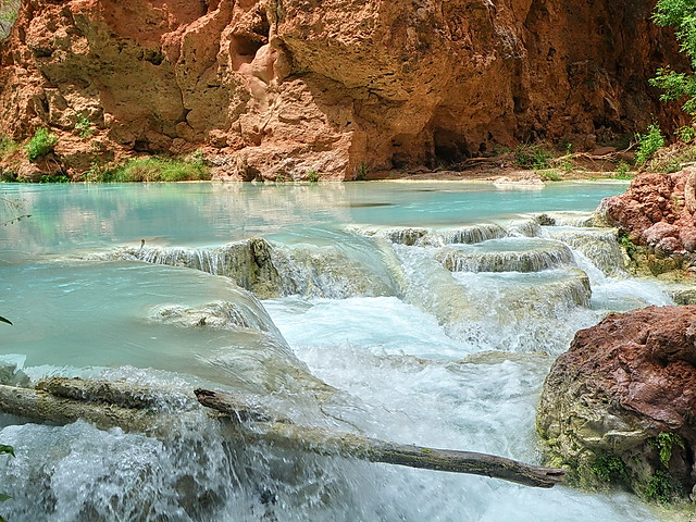 Travertine pools below Beaver Falls - Grand Canyon