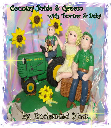 Country Tractor Baby Bride Groom Wedding cake topper