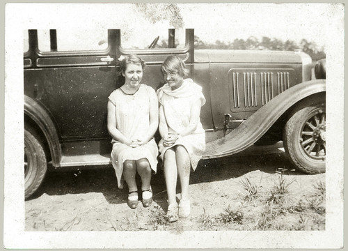 two women on running board