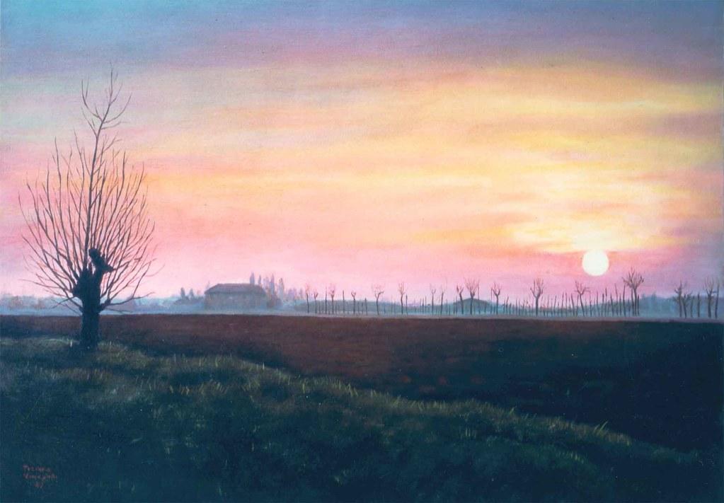 quadro ad olio su tela tramonto