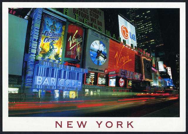 New York City - Times Square - Bar Code - Virgin Megastore - Post Card - 2000