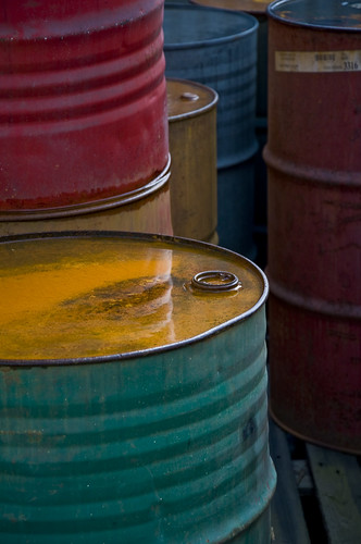 Colorful Old Oil Barrels by L.C.Nøttaasen