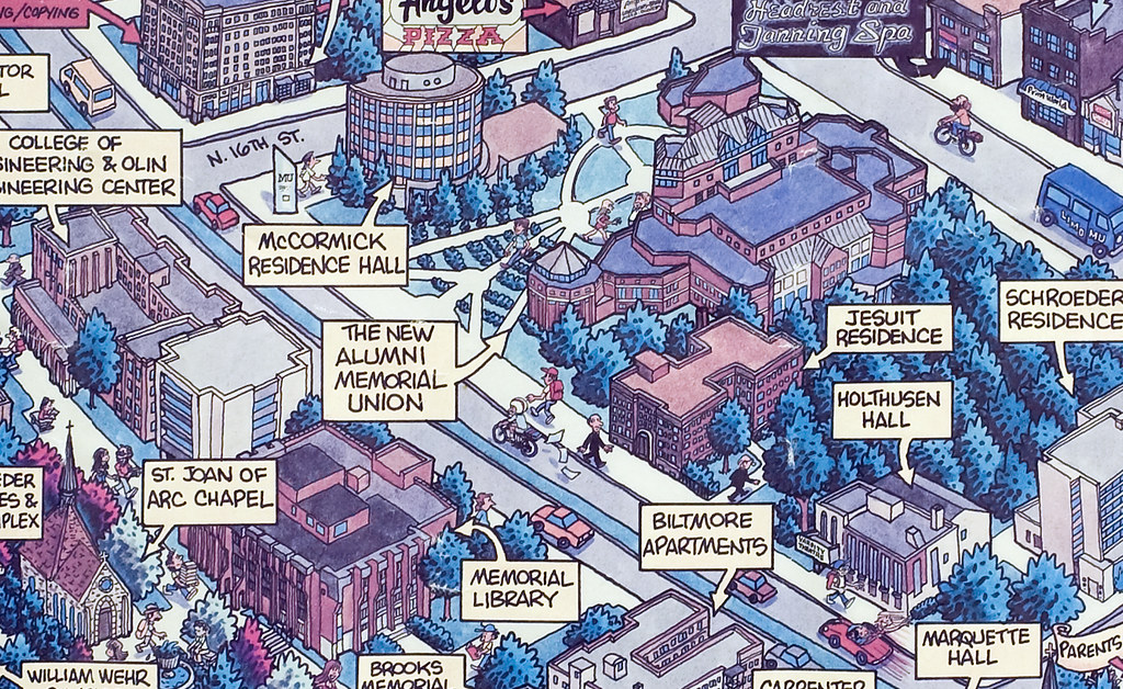 Center section of 1988 89 Marquette University campus map | Flickr