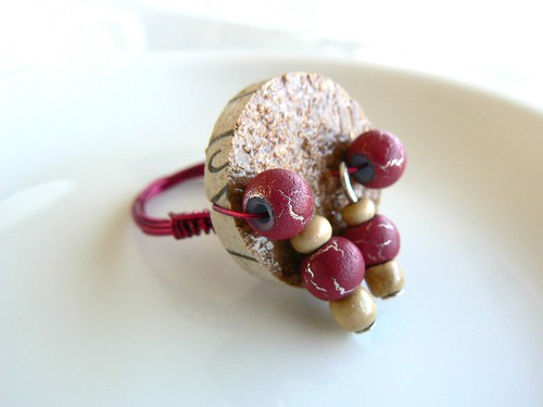 Cork and Wine Ring Sz8
